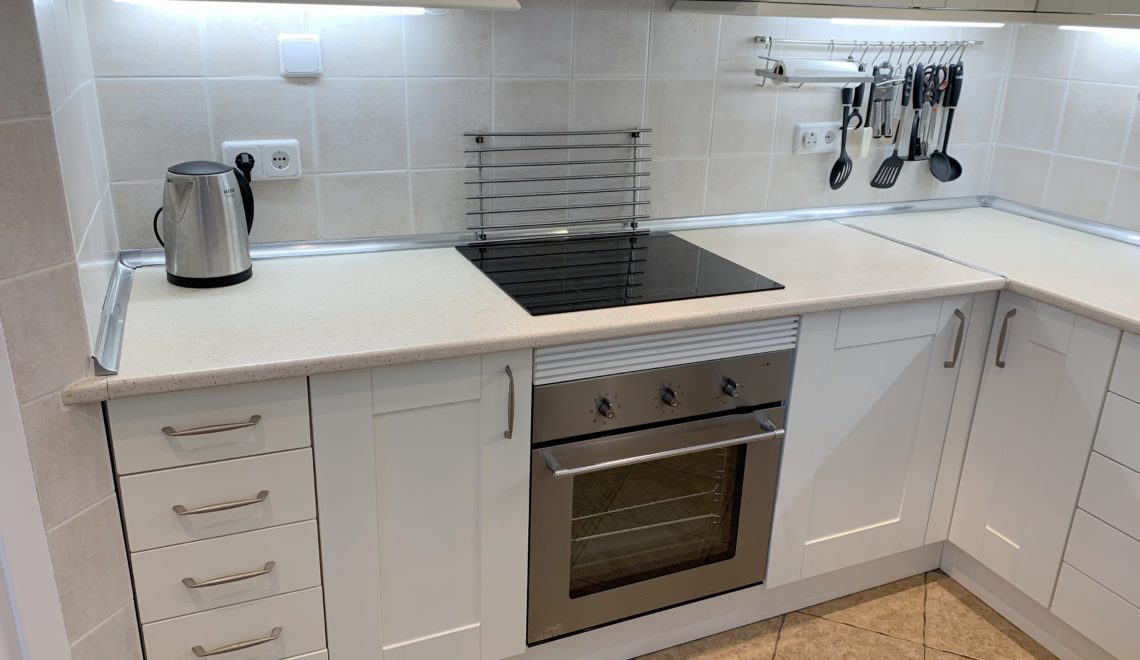 Vinyl Wrap Makeover Calahonda The, How Do You Apply Vinyl Wrap To Kitchen Cabinets